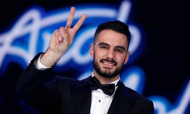 Palestinian singer Yaqoub Shaheen after winning the final of Arab Idol in Beirut. Photograph: Mohamed Azakir/Reuters